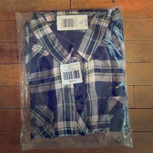 Navy Plaid Twill Shirt